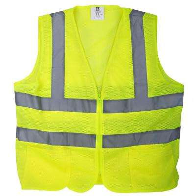 XL Yellow Mesh High Visibility Reflective Class 2 Safety Vest