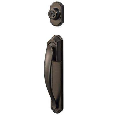 Oil Rubbed Bronze Deluxe Storm and Screen Pull Handle and Keyed Deadbolt