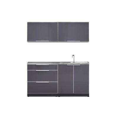 Slate Gray 5-Piece 64 in. W x 36.5 in. H x 24 in. D Outdoor Kitchen Cabinet Set with Countertop