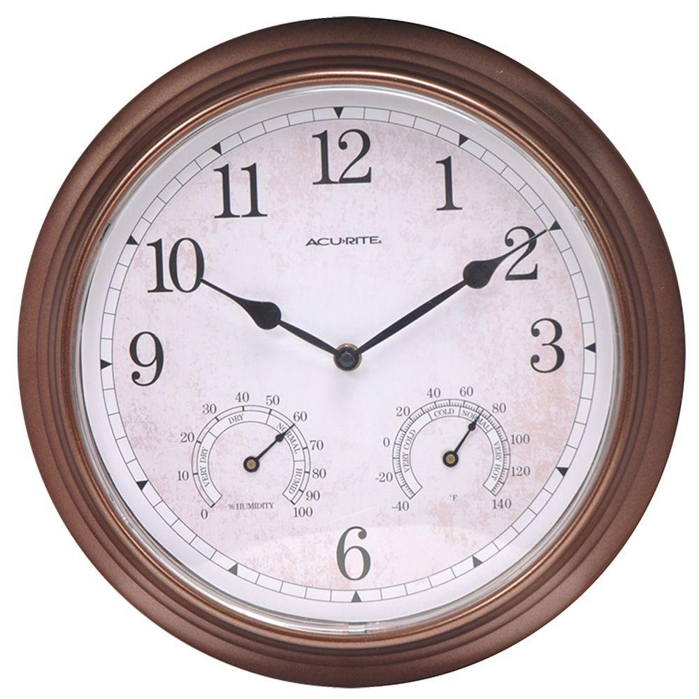 13 in. Copper Analog Clock Thermometer Hygrometer Combo