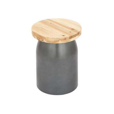Light Brown Round Stool with Gray Base