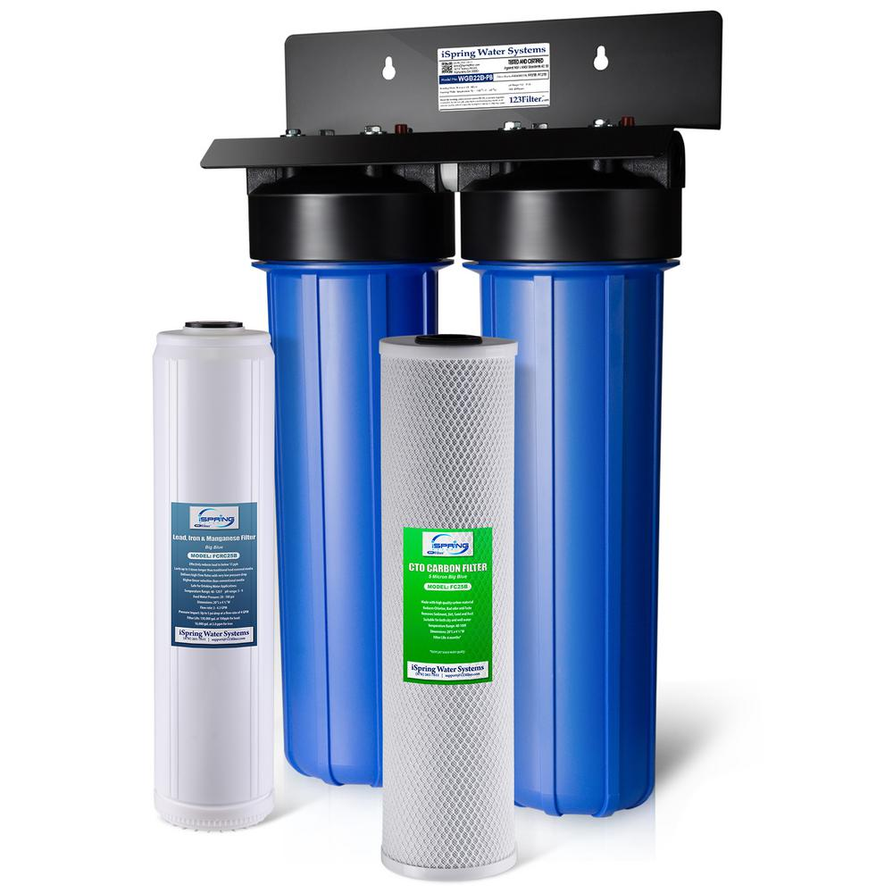 ISPRING 2-Stage 100k Gal  Whole House Water Filter System w/ Big Blue  Sediment, Carbon Block, and Iron & Lead Reducing Filters