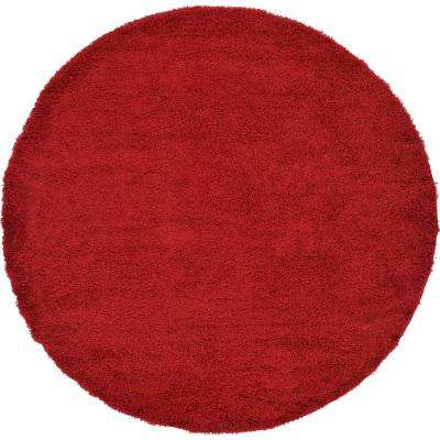 Solid Shag Cherry Red 8 ft. 2 in. x 8 ft. 2 in. Round Rug