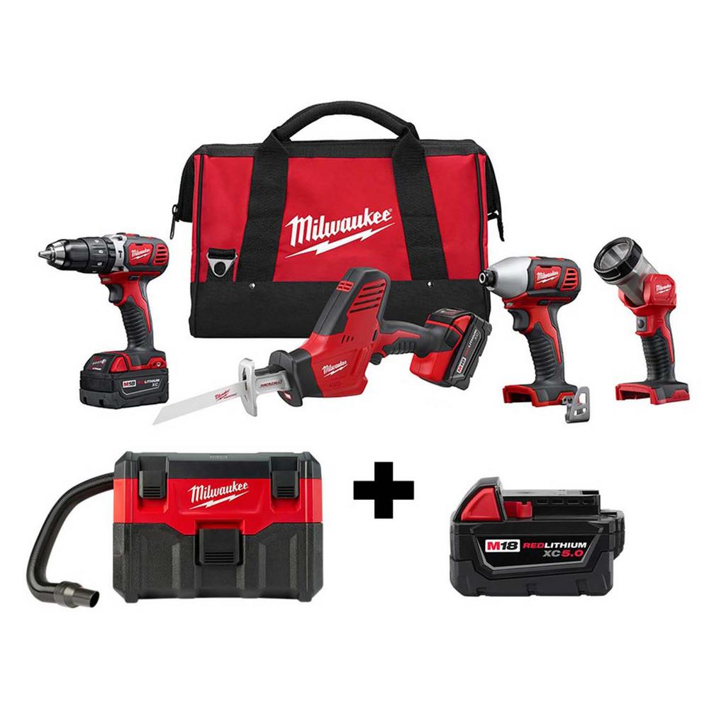 Milwaukee M18 18-Volt Lithium-Ion Cordless Combo Tool Kit (4-Tool) with Free M18 Wet/Dry Vacuum and 5.0 Ah Battery was $657.0 now $349.0 (47.0% off)