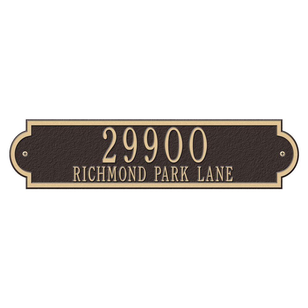 Richmond Rectangular Bronze/Gold Estate Wall Two Line Horizontal Address Plaque