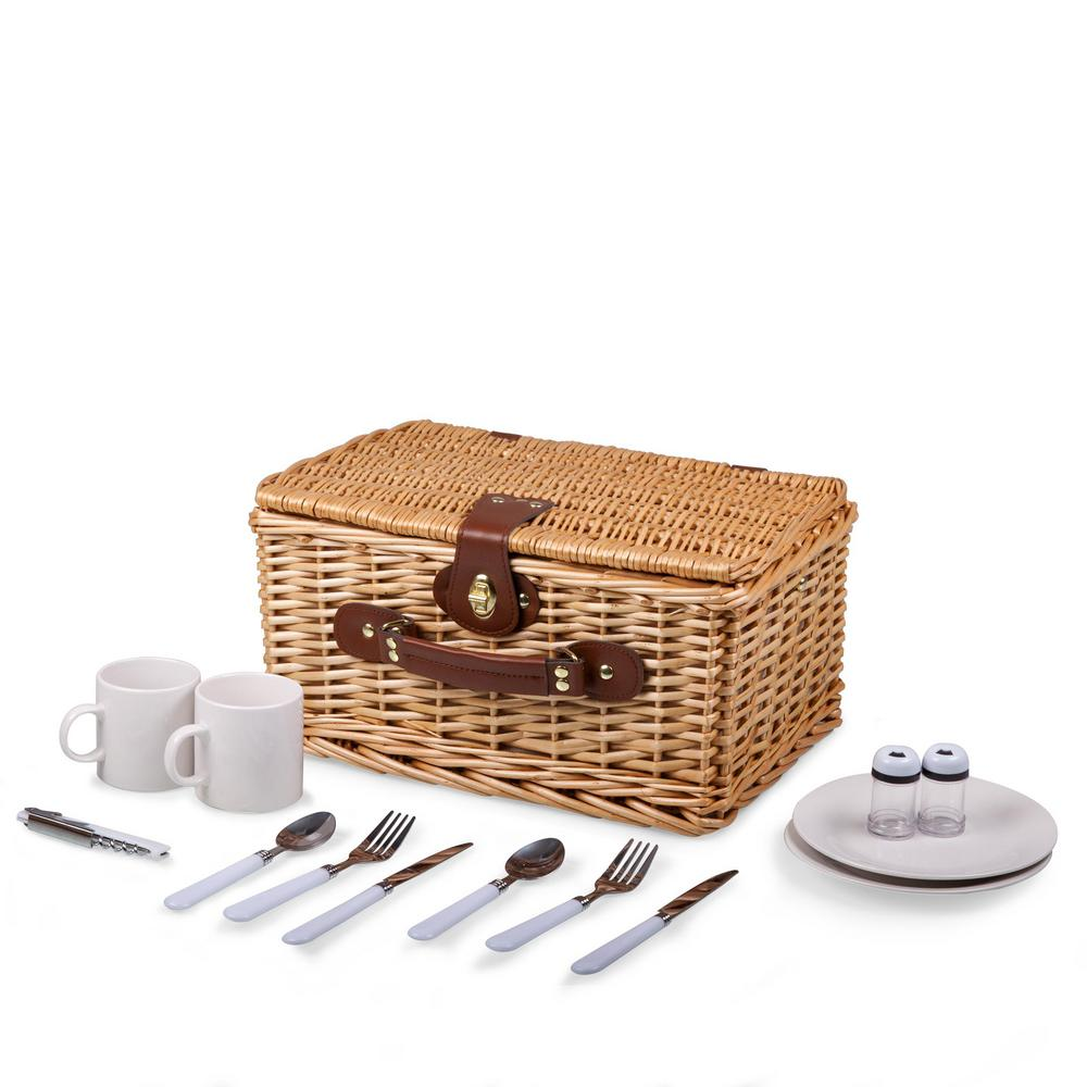 Catalina Red & White Wood Picnic Basket