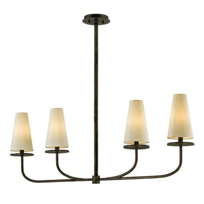 Marcel 4-Light Pompeii Bronze 5 in. W Linear Pendant with Off-White Hardback Cotton Shade