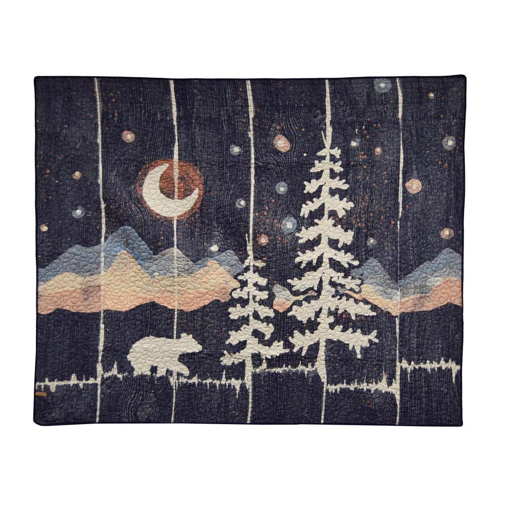 Moonlit Bear Black Cotton Throw