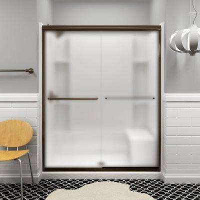 Finesse 59-5/8 in. x 70-1/16 in. Semi-Frameless Sliding Shower Door in Frosted Deep Bronze with Handle