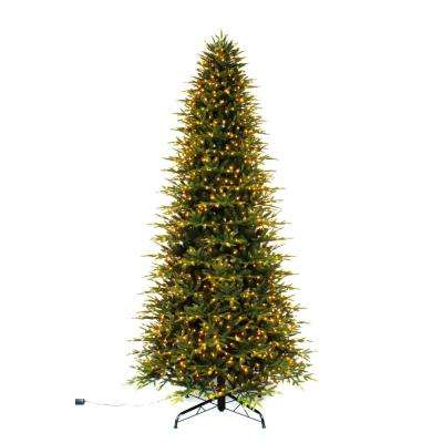 10 ft. Pre-Lit LED Taylor Fir Quick Set Artificial Christmas Tree with Warm White Micro Dot Lights
