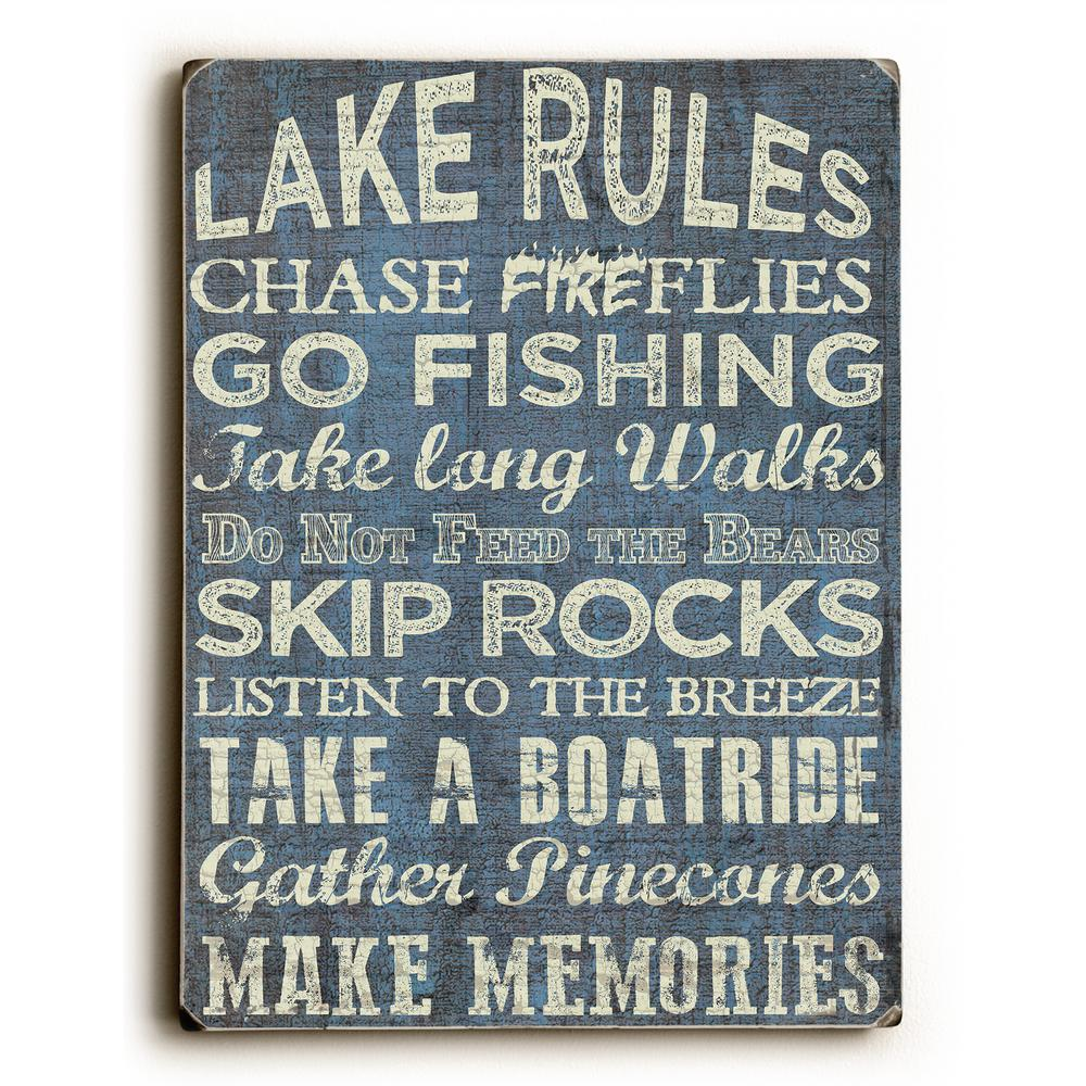 Lake rules by artlicensing solid wood wall art