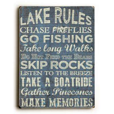 "9 in. x 12 in. ""Lake Rules"" by ArtLicensing Solid Wood Wall Art"