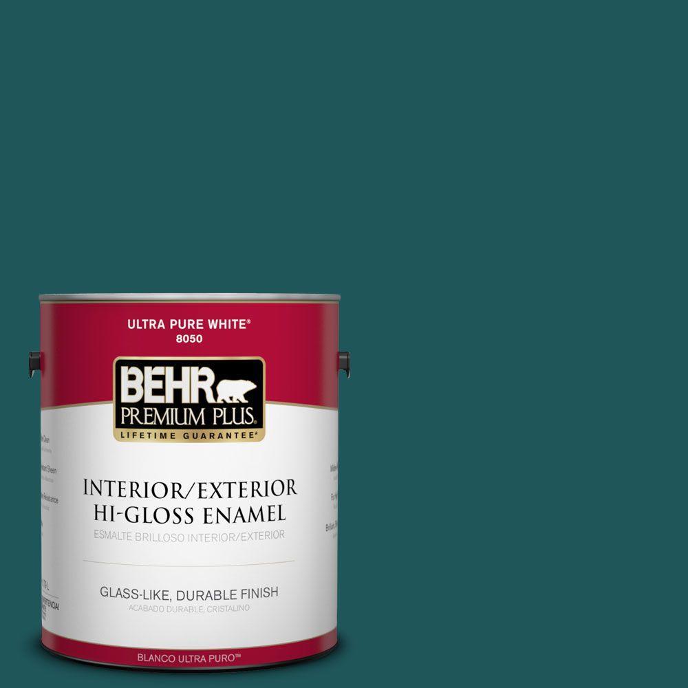 BEHR Premium Plus 1-gal. #PPF-56 Terrace Teal Hi-Gloss Enamel Interior/Exterior Paint