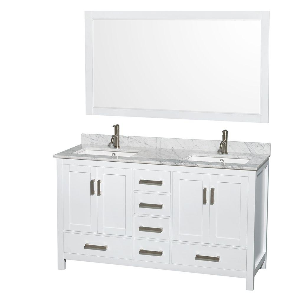 Wyndham Collection Sheffield 60 In Double Vanity White With Marble Top Carrara