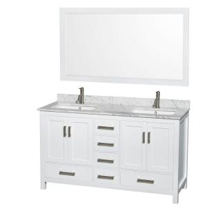 Wyndham Collection Sheffield 60 inch Double Vanity in White with Marble Vanity Top in Carrara White and 58 inch Mirror by Wyndham Collection