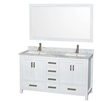 Sheffield 60 in. Double Vanity in White with Marble Vanity Top in Carrara White and 58 in. Mirror