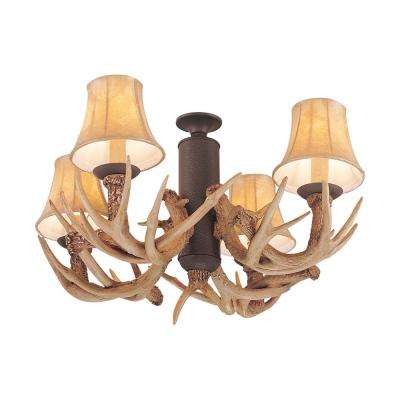 4-Light Weathered Iron and Antler Ceiling Fan Light Kit