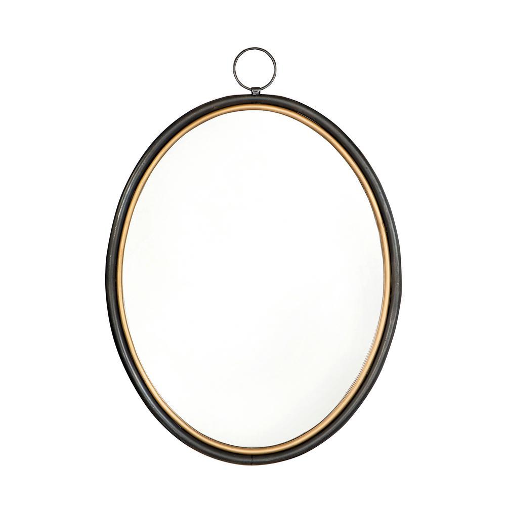 Medium Oval Black Classic Mirror (24 in. H x 17.25 in. W)