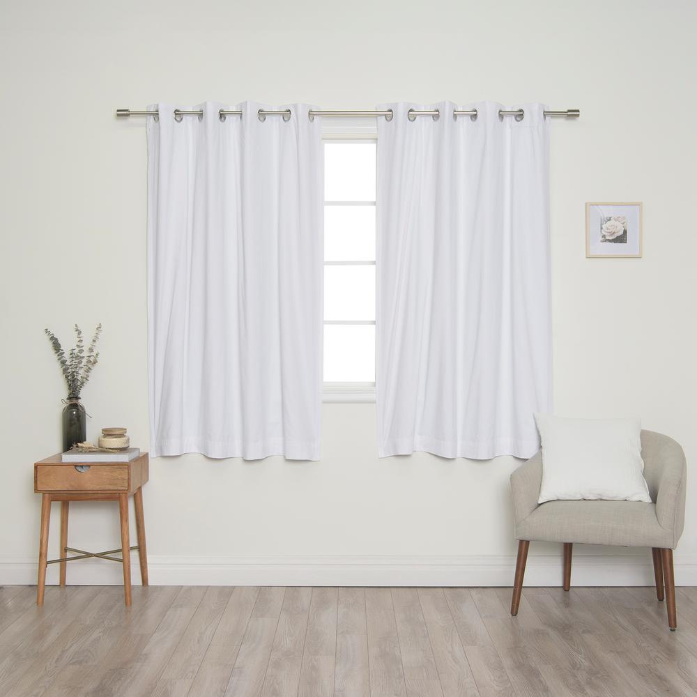 Best Home Fashion White Solid Cotton Blackout Thermal Grommet Curtain Panel Set - 52 in. x 63 in. (2-Panel)