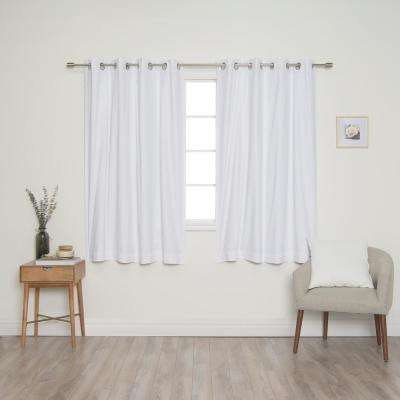 White Solid Cotton Blackout Thermal Grommet Curtain Panel Set - 52 in. x 63 in. (2-Panel)