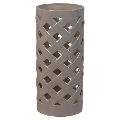 Criss Cross Gray Ceramic Umbrella Stand