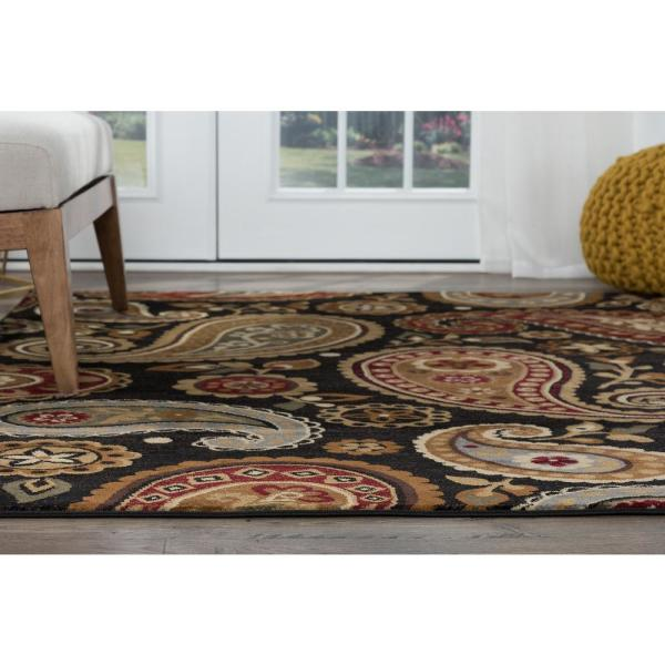Tayse Rugs Impressions Black 8 Ft X 10 Ft Transitional Area Rug Imp7813 8x11 The Home Depot