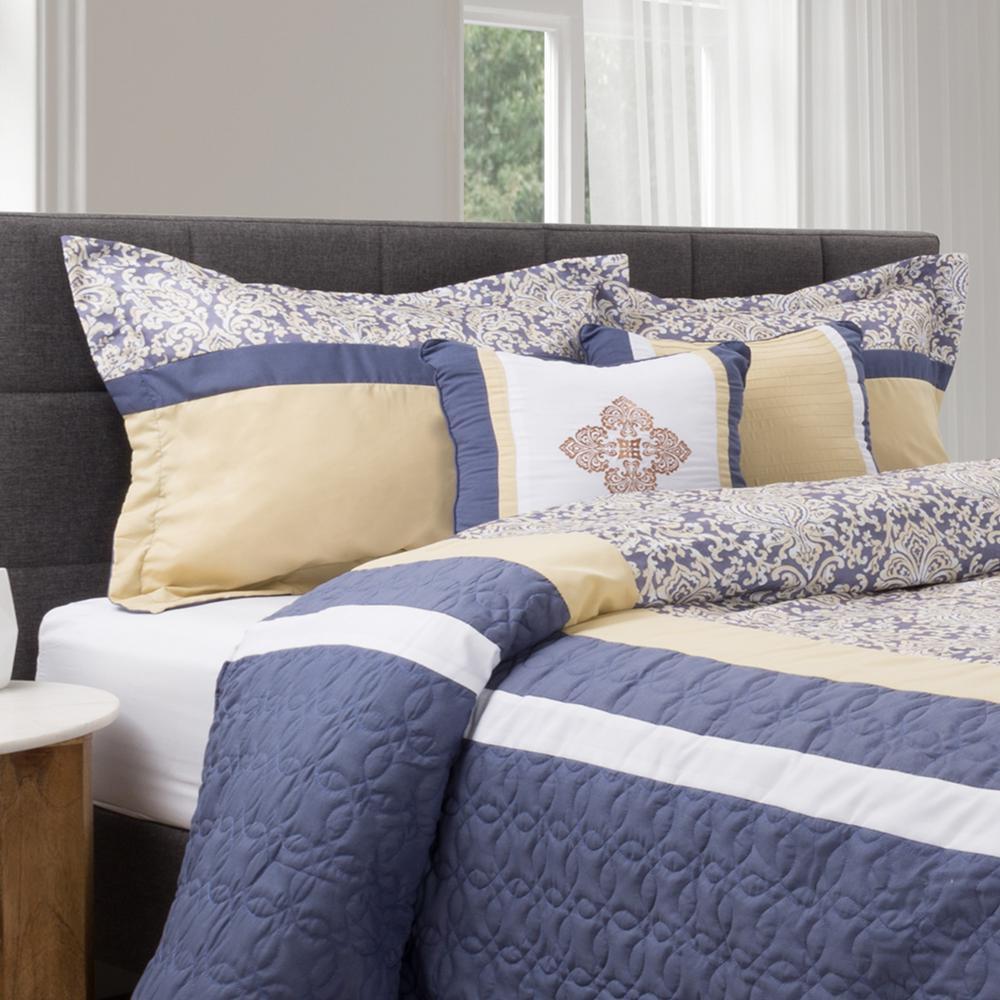 5-Piece Blue/Yellow Elegant Paisley Design Queen Comforter Set