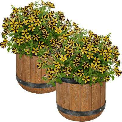 Vineyard 12 in. Fiber Clay Classic Barrel Durable Indoor/Outdoor Use Planter Flower Pot (Set of 2)