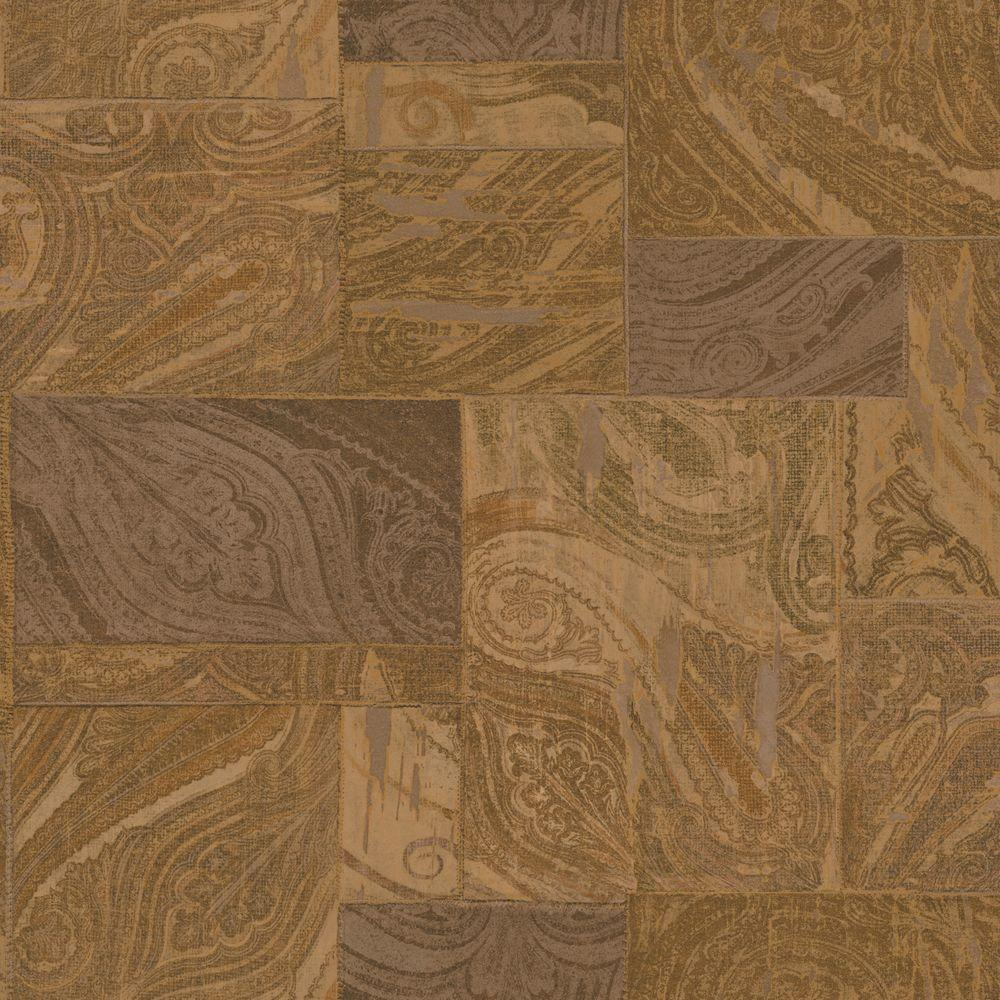 The Wallpaper Company 8 in. x 10 in. Gold Gild Paisley Patchwork Wallpaper Sample-DISCONTINUED