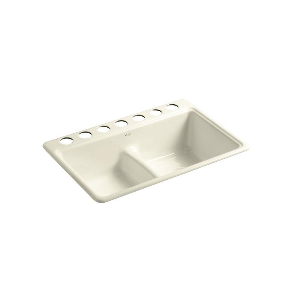 KOHLER Deerfield Undercounter Cast Iron 33x22x9.625 7-Hole Kitchen Sink in Cane Sugar
