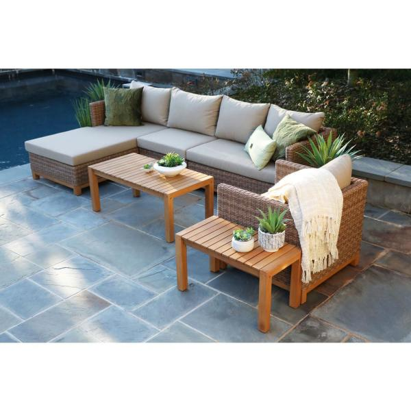 Hillgrove 6-Piece Resin Wicker Outdoor Sectional with Sunbrella Heather Beige Cushions