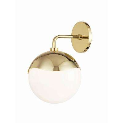 Ella 1-Light Polished Brass Wall Sconce with Opal Glossy Glass Shade