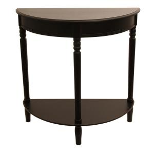 Decor Therapy Simplicity Eased Edge Black Half Round Console Table