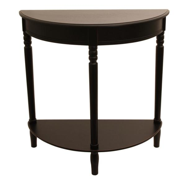 Decor Therapy Simplicity Eased Edge Black Half Round Console Table FR1799
