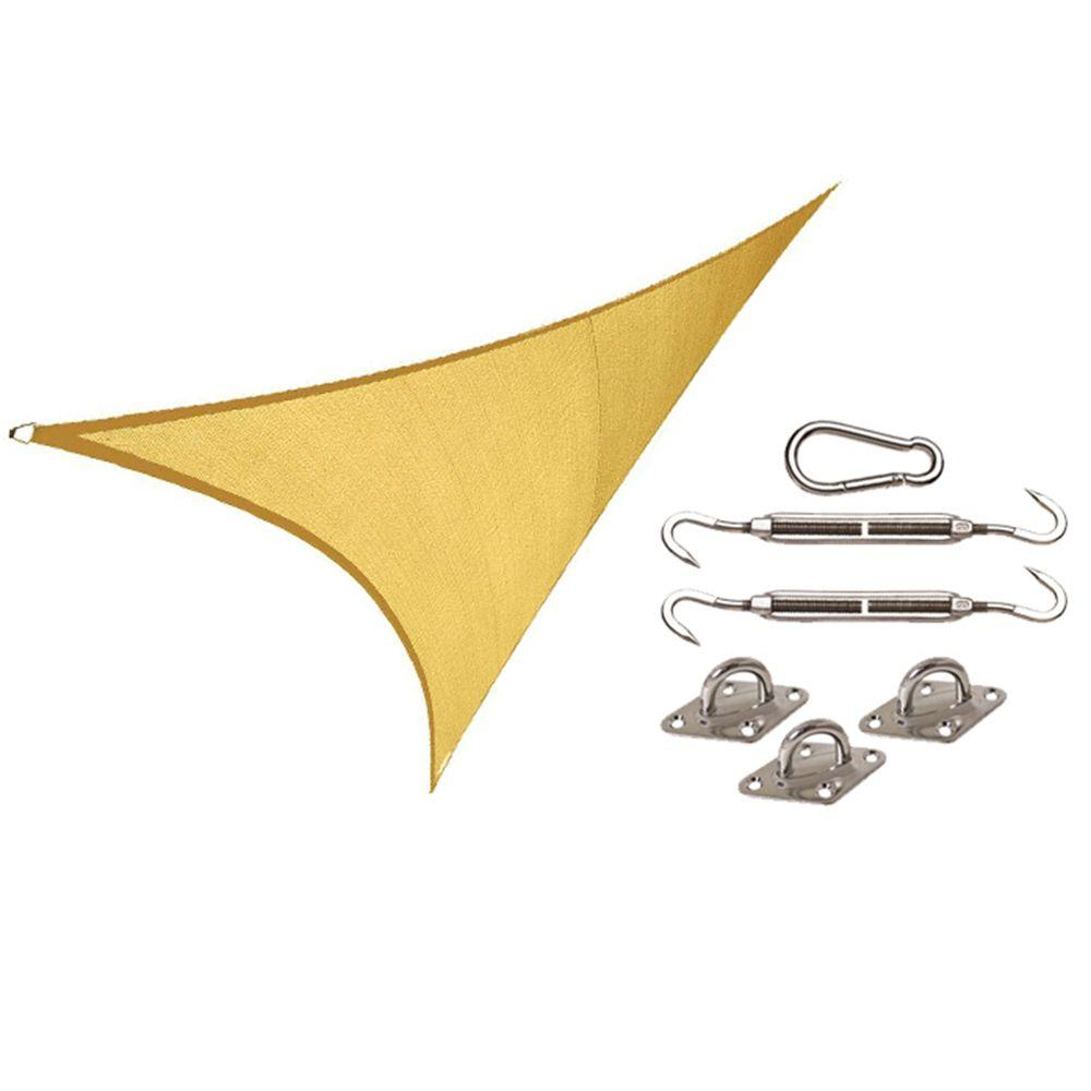 Coolaroo Coolhaven 15 ft. x 12 ft. x 9 ft. Right Triangle Sahara Shade Sail with Kit