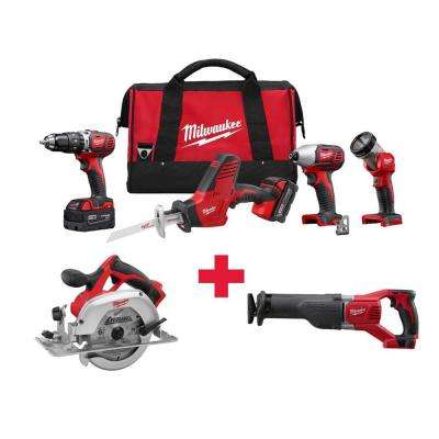M18 18-Volt Lithium-Ion Cordless Combo Kit (4-Tool) with Free M18 Circ Saw and M18 Sawzall