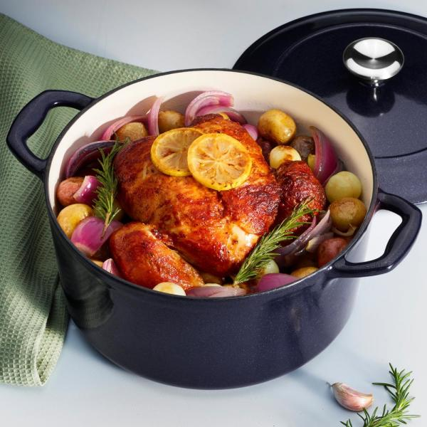 Gourmet 5.5 qt. Round Porcelain-Enameled Cast Iron Dutch Oven in Dark Blue with Lid