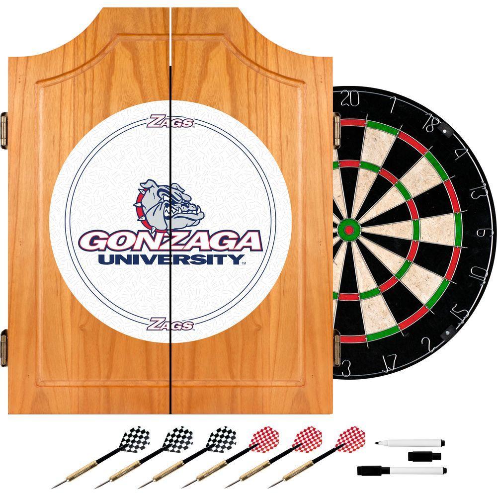 Gonzaga University Wood Finish Dart Cabinet Set