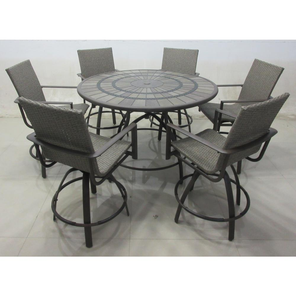 hampton bay beckham 7 piece outdoor balcony height dining
