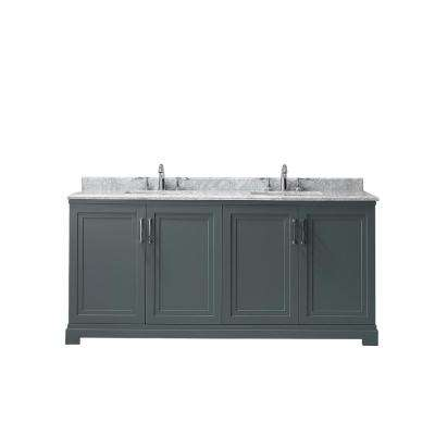 Lynn 72 in. W x 22 in. D Vanity in School House Slate with Marble Vanity Top in White with White Basin