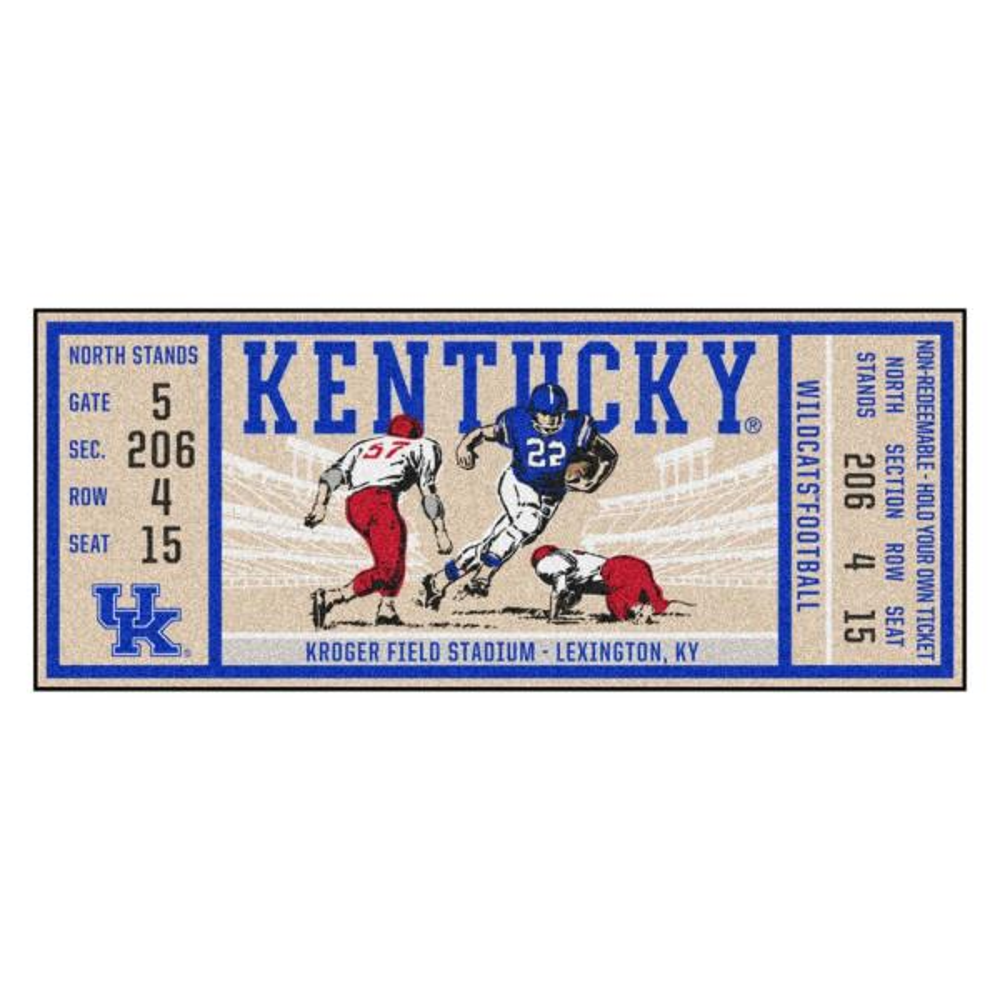 NCAA University of Kentucky 30 in. x 72 in. Indoor Ticket Runner Rug