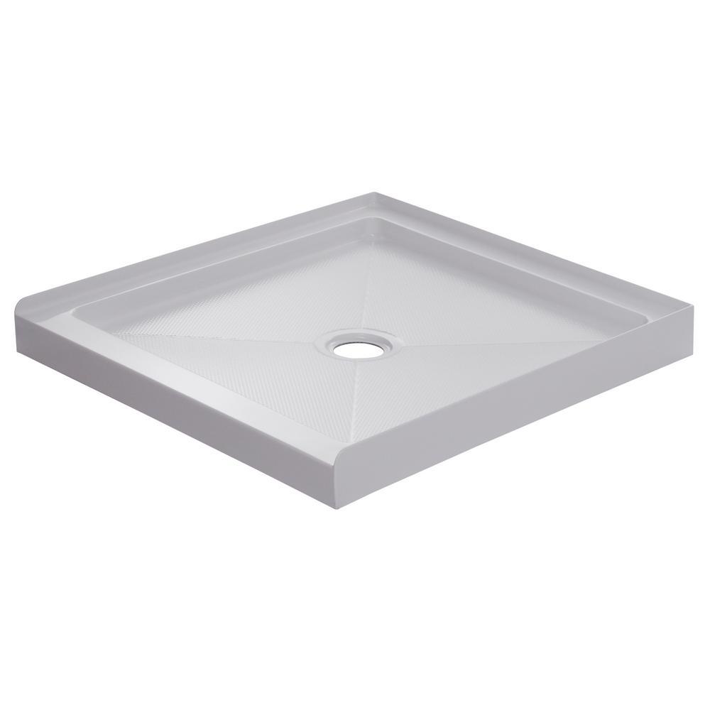 32 in. x 32 in. Single Threshold Shower Base in White