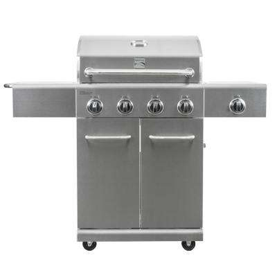 4 Burner Propane Gas Grill in Stainless Steel with Side Burner
