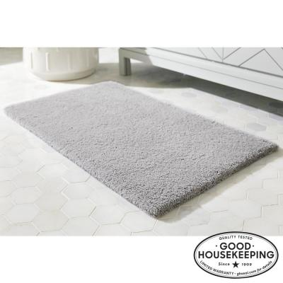 Shadow Gray 24 in. x 40 in. Cotton Reversible Bath Rug