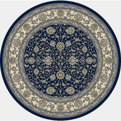 Ancient Garden Navy 5 ft. Round Area Rug