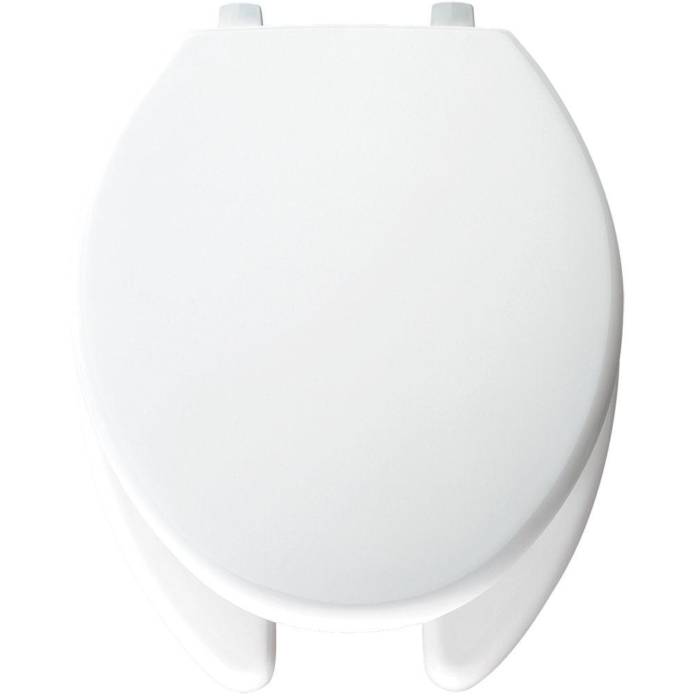 Bemis Just-Lift Elongated Open Front Toilet Seat in White