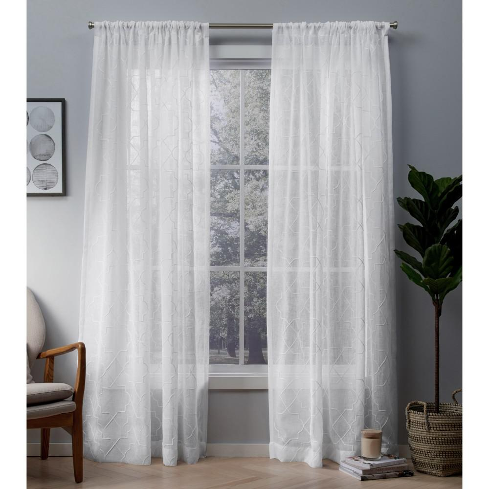 Cali Winter White Embroidered Sheer Rod Pocket Top Window Curtain