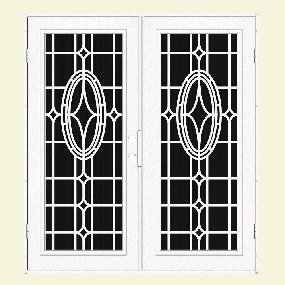 Unique Home Designs 72 in. x 80 in. Modern Cross White Left-Hand Recessed Mount Aluminum Security Door with Charcoal Insect Screen