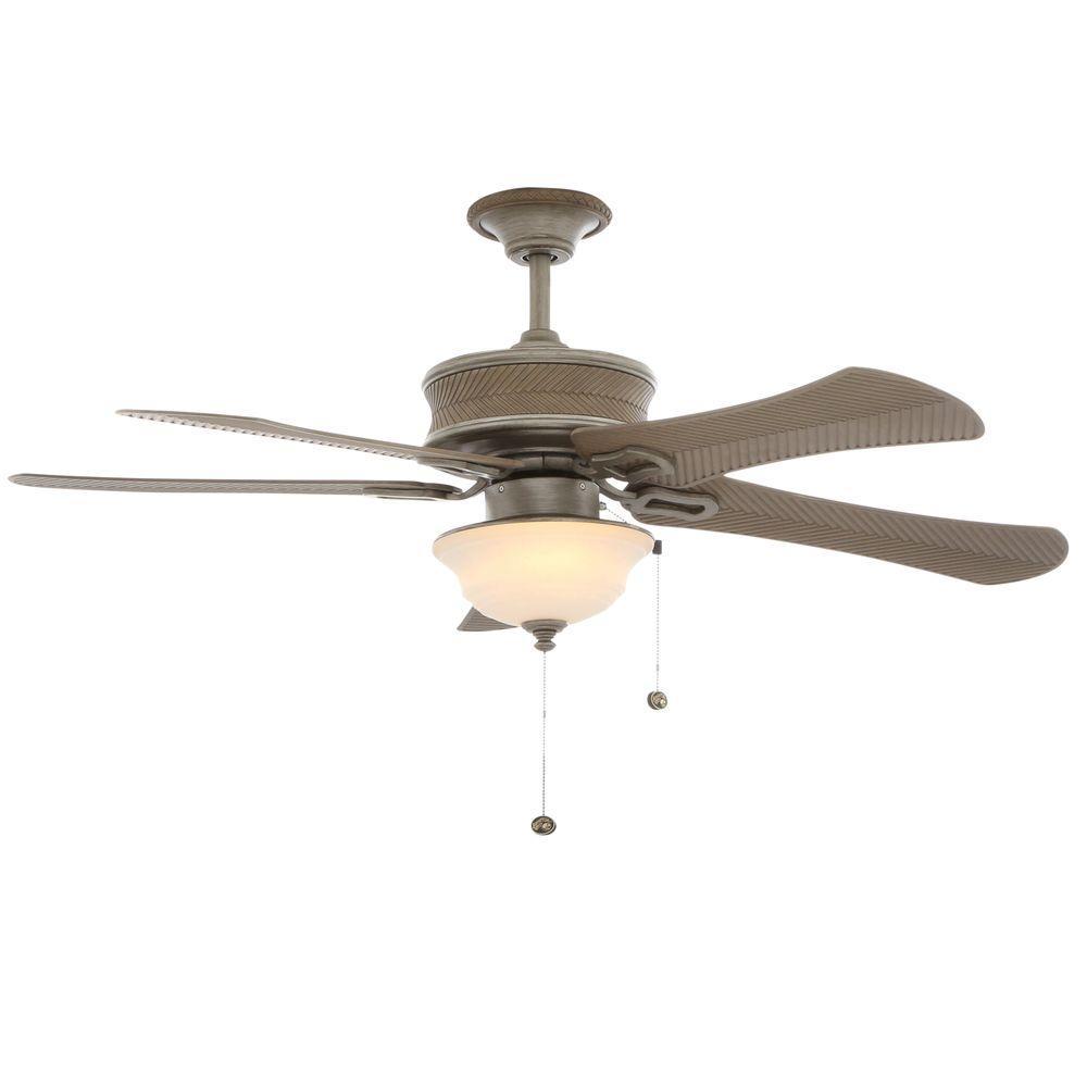 Hampton Bay Algiers 54 in. Indoor/Outdoor Cambridge Silver Ceiling Fan with Light Kit