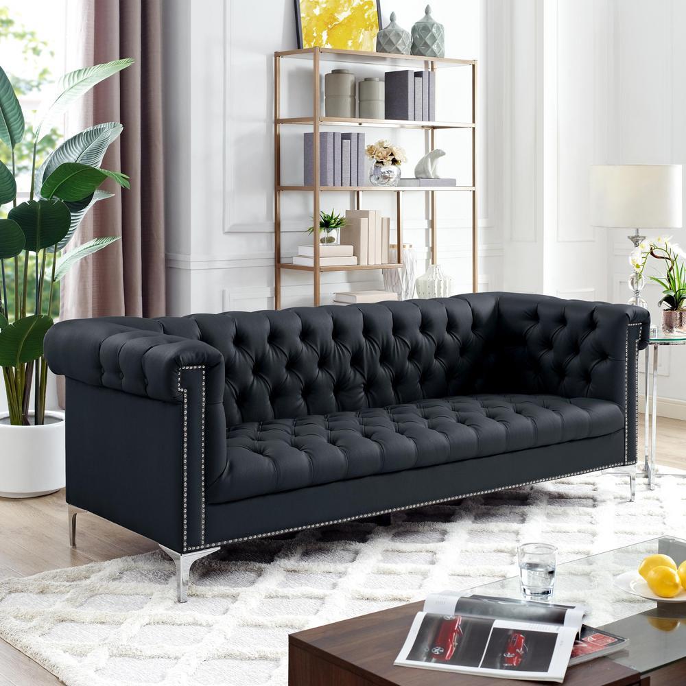 Ramona 33.8 in. Black/Silver Faux Leather 3-Seater Tuxedo Sofa with Nailheads